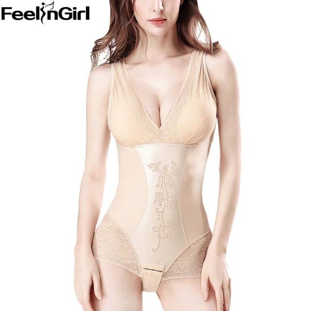 4ab5be95f1 FeelinGirl Slimming Underwear bodysuit Padded bra Lace Body Shaper women  Waist trainer Slimming Shapewear with under hook -B