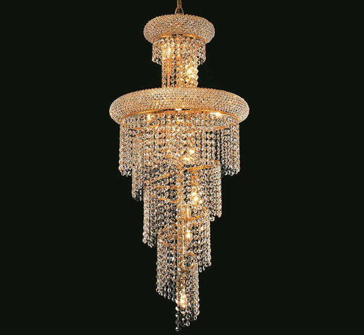 Phube Lighting French Empire Gold Stair Crystal Chandelier Lustre Chrome Chandeliers Lighting Modern Chandeliers Light Lighting minimalist style chandelier choice of color french gold and chrome crystal lamp crystal chandelier golden color is ready made