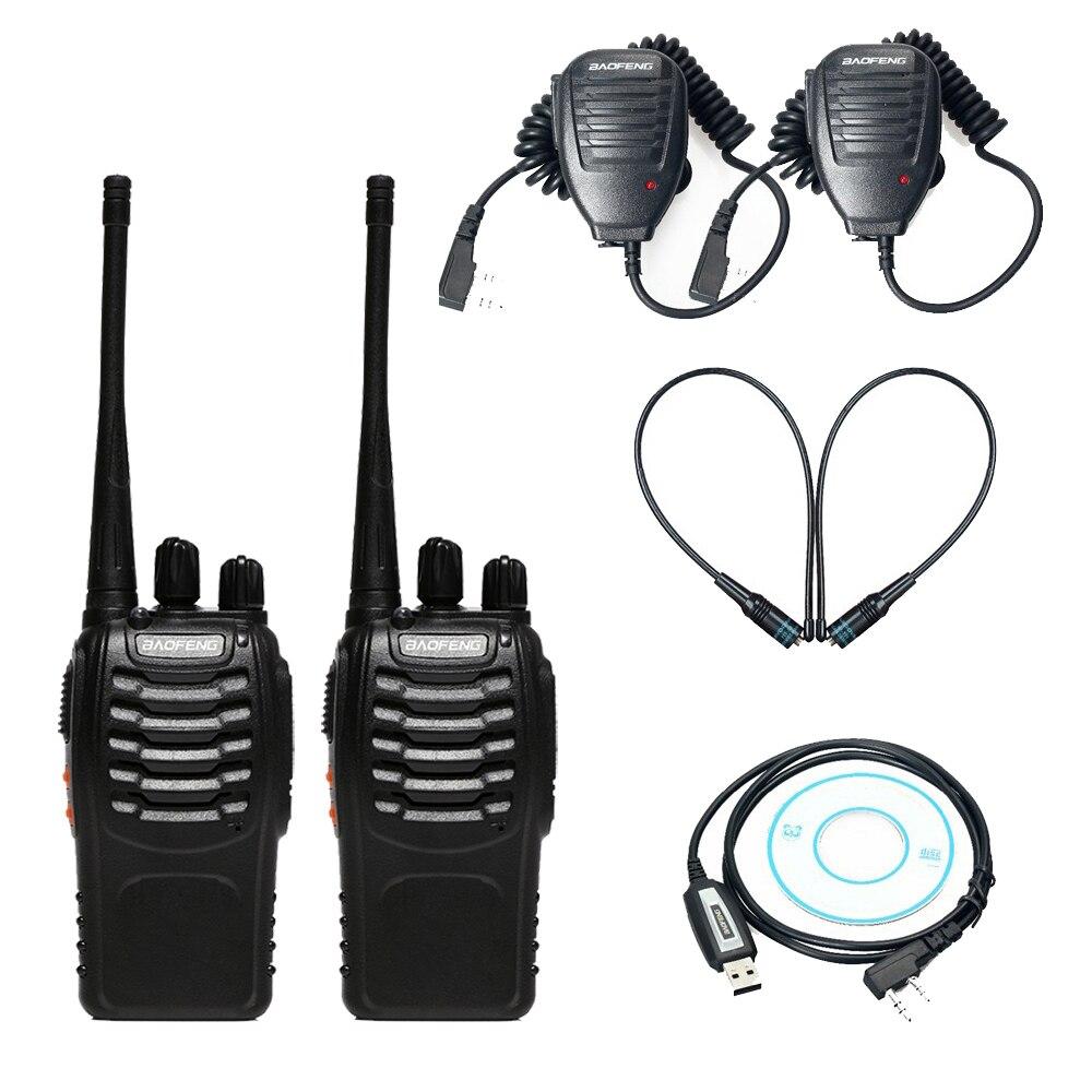 2 pcs Baofeng bf-888s Talkie Walkie CB Radio + USB Câble de Programmation Pilote CD + 2 x De Poche Microphone Haut-Parleur + 2 x NA-771 Antenne