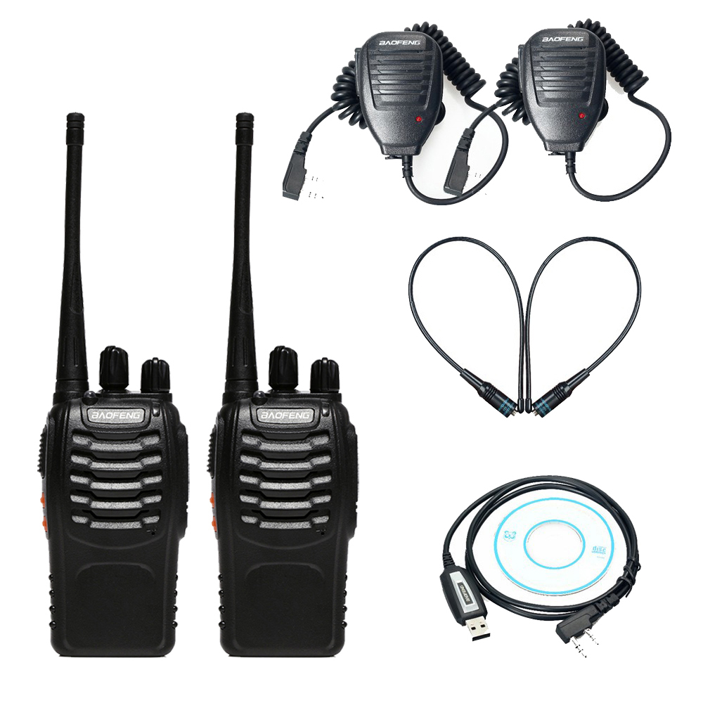 2pcs Baofeng bf-888s Walkie Talkie CB Radio+USB Programming Cable Driver CD+2 x Handheld Microphone Speaker+2 x NA-771 Antenna2pcs Baofeng bf-888s Walkie Talkie CB Radio+USB Programming Cable Driver CD+2 x Handheld Microphone Speaker+2 x NA-771 Antenna