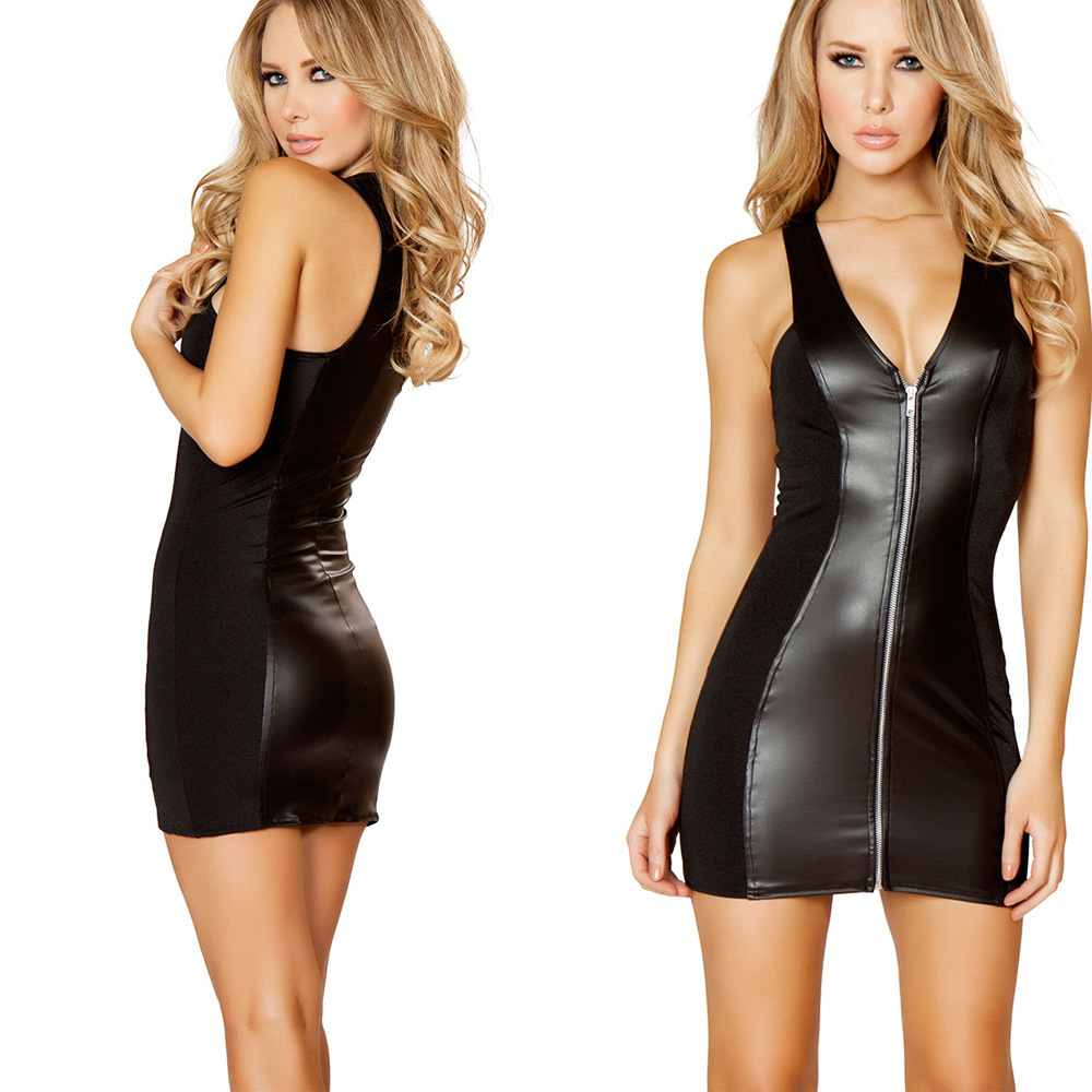 Buy Women Sexy Lingerie Hot Black Latex Teddy Lenceria Sexy Babydoll Mini Dress Sexy Nightclub Costumes PU Leather Sexy Underwear
