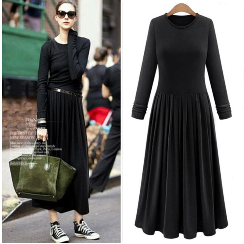 Europe 2018 autumn women cotton dress plus size clothing XS-5XL 6XL pleated long sleeve modal dress Summer pleated Maxi dresses