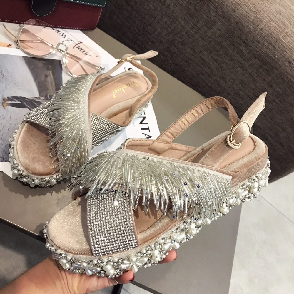 Solid summer shoes new arrival Buckle wedge women sandals Crystal String Bead all match belt fastener