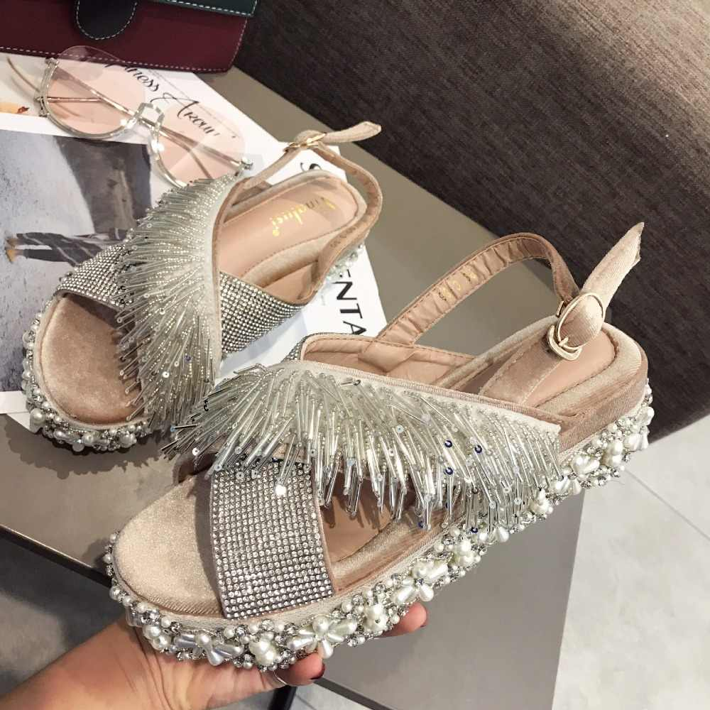 Solid summer shoes new arrival Buckle wedge women sandals Crystal String Bead all match belt fastener fur heels Rome Fashion