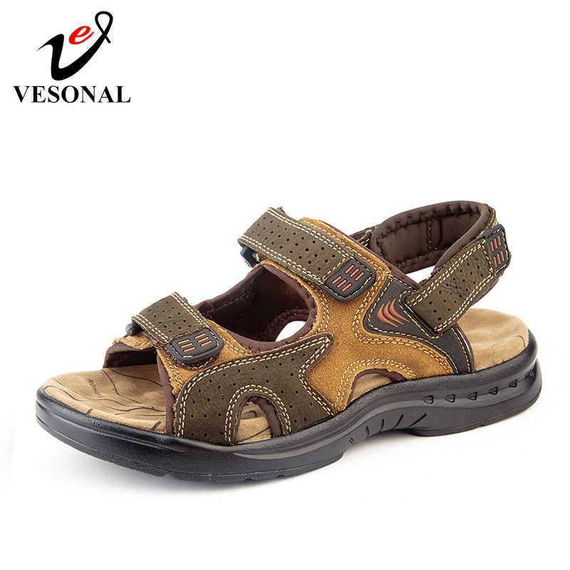 0fd101e2c VESONAL Лето 2019 г. Новая обувь из натуральной кожи мужские сандалии для  мужчин повседневное классический