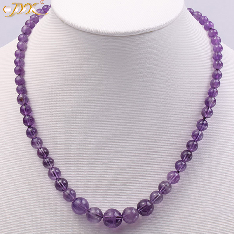 JYX Gemstone Necklace Natural Amethyst 6.5 12mm Round Multi size Purple Crystal Beads Necklace Jewelry 17 For Women