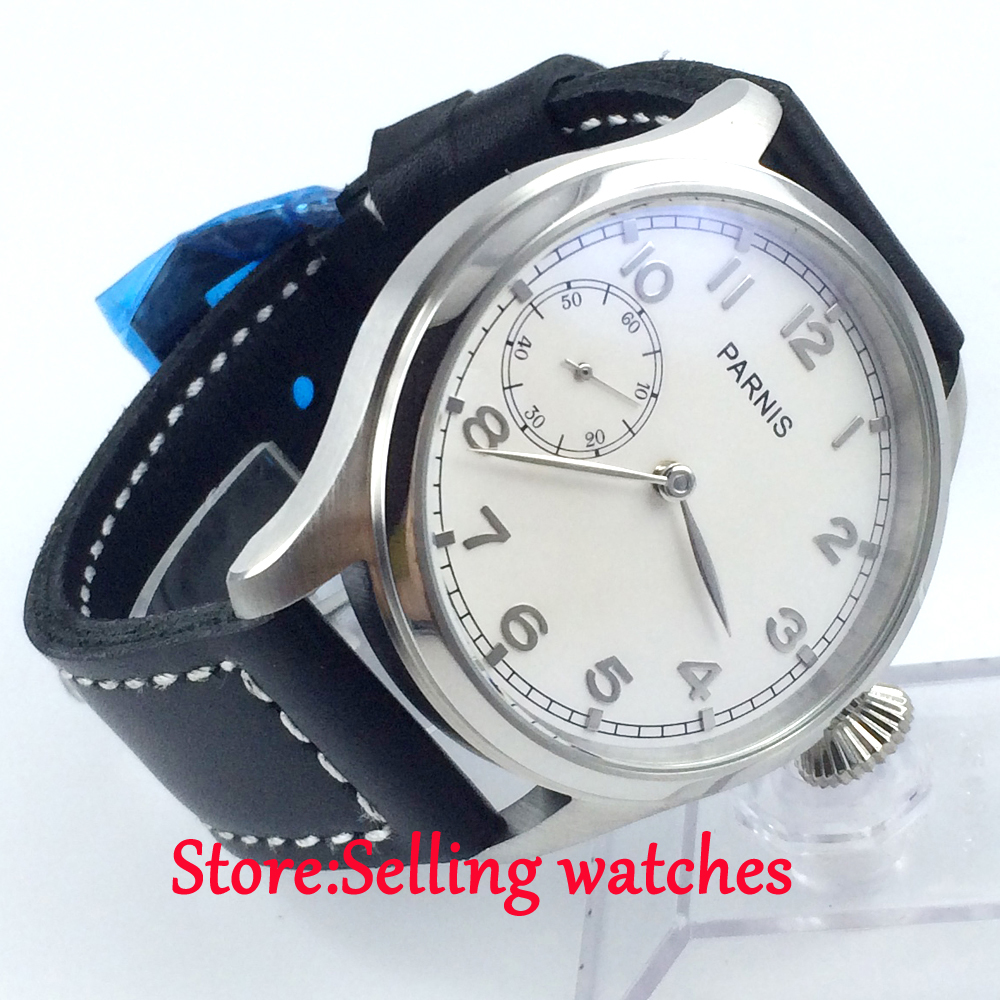 parnis white dial seagull 6497 movement hand winding mens luxury watch