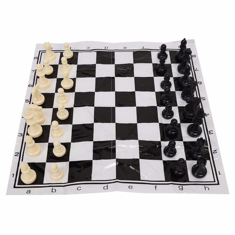 Portable Plastic Chessboard with 65mm Kings Black White International Chess Medieval Entertainment Game Set for Party Activities