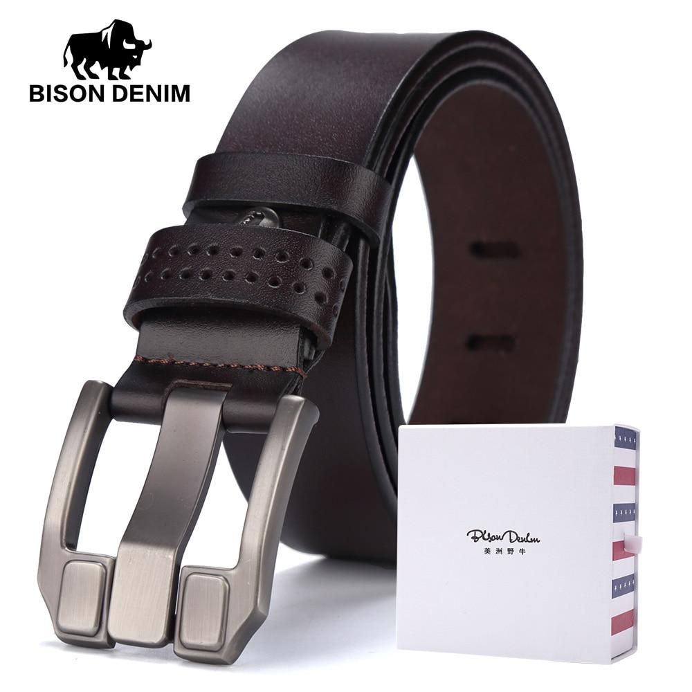 BISON DENIM Marca Cinturones Hombre Alta Calidad 100% Cinturones de Cuero Genuinos Hombres Vaquero Cinturones de cuero de Vaca Correa Marido Regalo Padre W71018