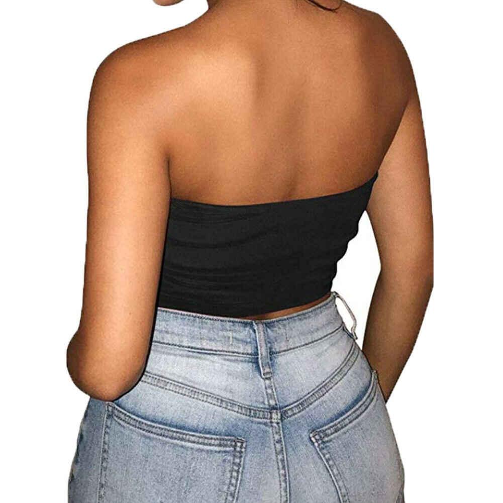 2019 새로운 섹시한 여성 Strapless 탑 섹시한 민소매 자르기 탑 탄력있는 가슴 Bandeau 튜브 탑 셔츠 Cami Top