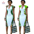 African Dress Women Deep V-Neck Bodycon Dress Plus Size African Clothing Knee-Length Dress Dashiki Women Party Dresses WY553