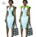 Africano dress mulheres profundo decote em v bodycon dress plus size vestuário africano dashiki vestidos das mulheres do partido do joelho-comprimento dress wy553