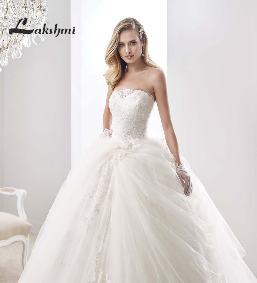 Delicate Beaded Strapless Ball Gowns Wedding Dresses Tulle Low Back ...