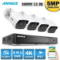 ANNKE 8CH 5MP 5в1 Ultra HD CCTV камера системы H.265 + с 4 шт. 5MP TVI цилиндрическая Всепогодная белая система видеонаблюдения