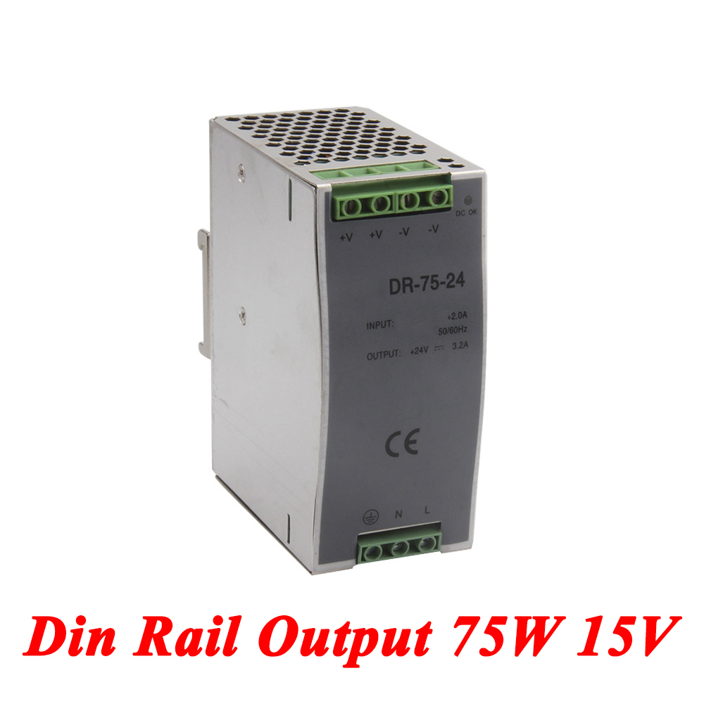 DR-75 Din Rail Power Supply 75W 15V 5A,Switching Power Supply AC 110v/220v Transformer To DC 15v,ac dc converter dr 240 din rail power supply 240w 48v 5a switching power supply ac 110v 220v transformer to dc 48v ac dc converter