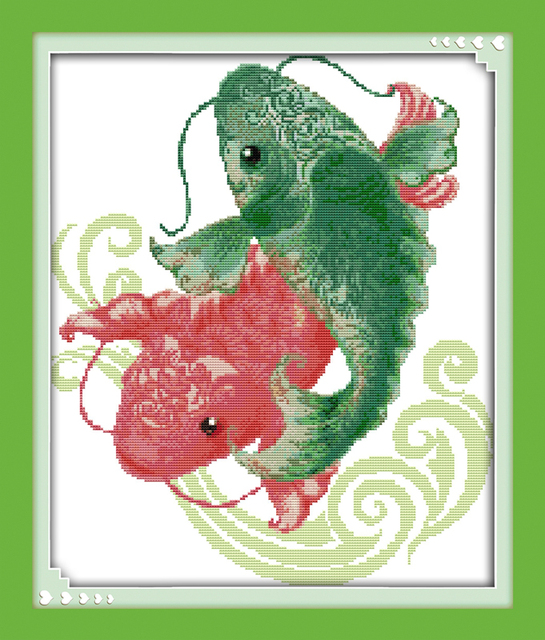 Us 933 49 Offfreude Sonntag Tier Stil Ein Fisch Springen über Die Dragon Tor Gezählt Kostenlose Kreuzstich Alphabet Muster Auf Baumwolle In