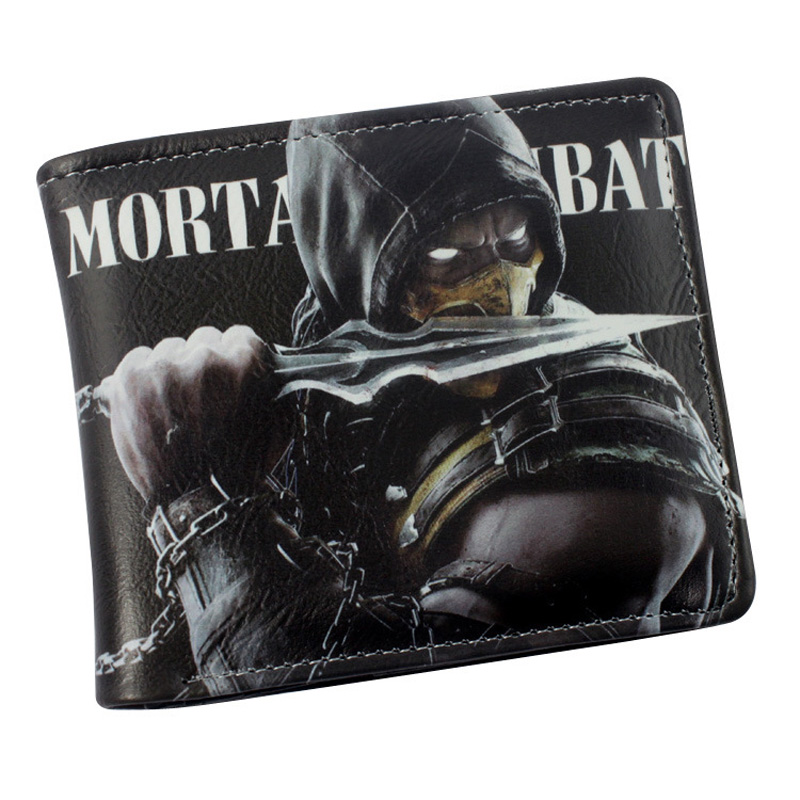 Free Shipping: American Movie Mortal Kombat Folding Casual Black Wallet/ High Quality Short PU Purse moana maui high quality pu short wallet purse with button