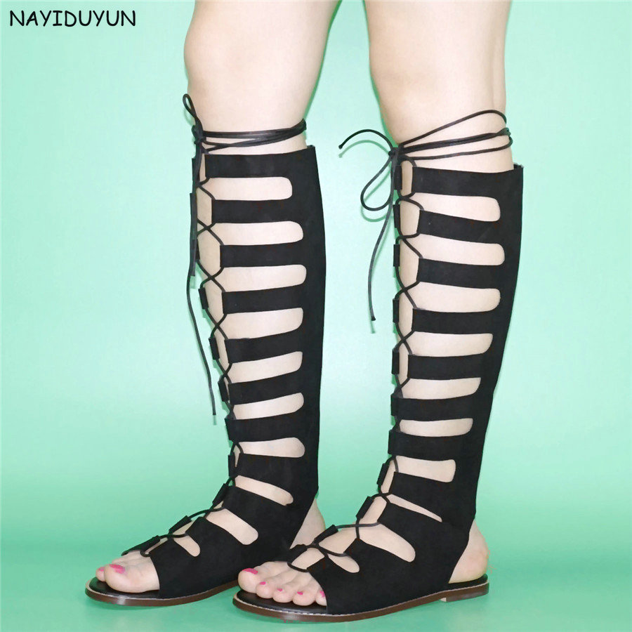 NAYIDUYUN Fashion Sandals Women Knee High Strappy Roman Gladiator Sandals Flats Summer Tall Boots Oxfords Party Shoes Lace up brand designer faux leather strappy roman goth gladiator thong lace up bandage sandals knee high boots flat shoes free shipping
