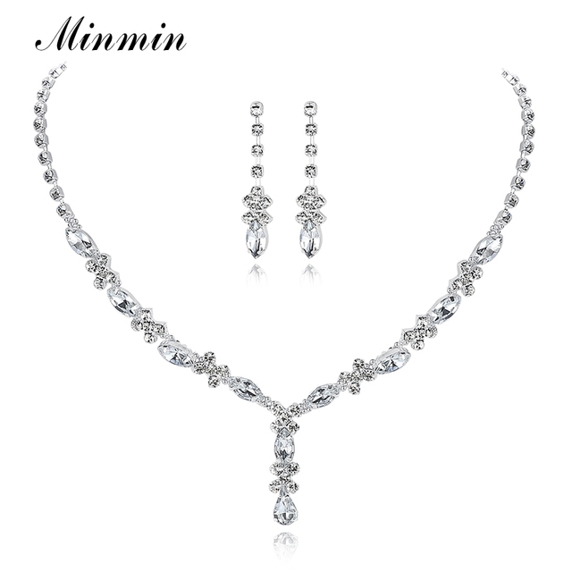 Minmin Simple Small Leaf Crystal Bridal Jewelry Sets Rhinestone Necklace Long Earrings African Beads Wedding Jewelry Sets TL002