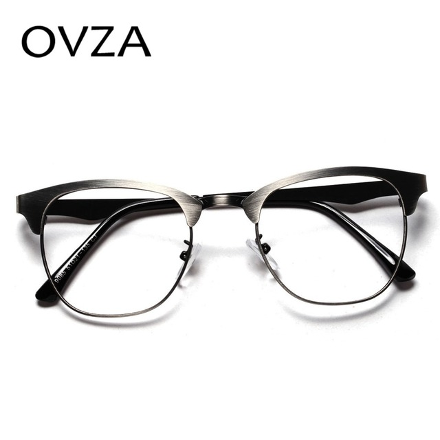 5f961a7755 OVZA Ultra-thin optics spectacle frame women metal eyeglasses transparent  lens male retro optical frames do the old process A170