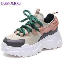 Обувь для женщин 2019 Зима Осень Новые кроссовки на платформе tenis feminino повседневные массивные Сникерсы женские сникерсы на шнуровке 8 см