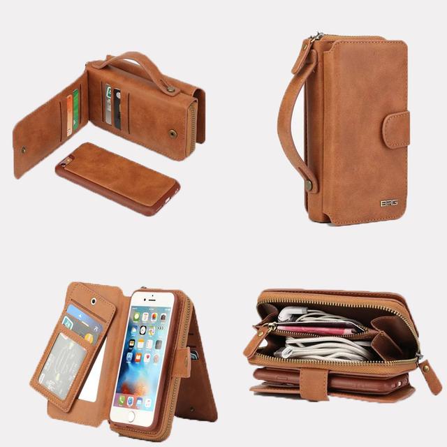 Cremallera cuero de la Marca de lujo cajas del teléfono para iPhone5 5S SE 6 6 S 6 Más 7 7 más caja del Teléfono de la cubierta del Teléfono Monedero caso