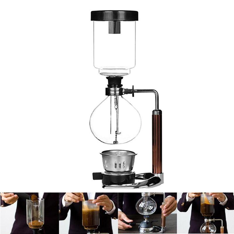 3 Cups Manual Siphon Coffee Maker Stainless Steel Pot Hand Glass Vacuum Coffee Maker Heat resistant Siphon Coffee Machine Filter