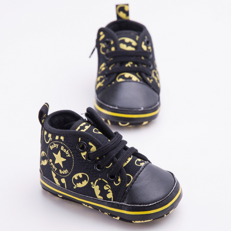 Cute Cartoon Batman Fashion Lace-Up Boy Kids First Walkers Newborn Baby Shoes Infant Toddler Kids Soft Soled Sneakers DS9