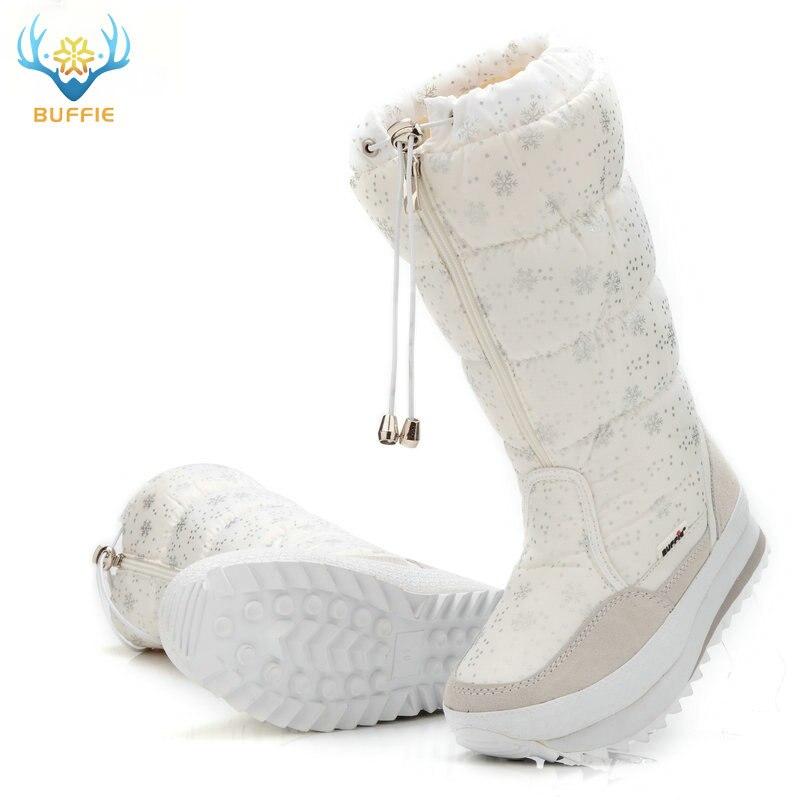 2018 Hiver bottes de Haute Femmes bottes de neige chaussures chaudes en peluche grande taille 35 à grand 42 facile porter fille blanc zip chaussures femme chaude bottes - 2