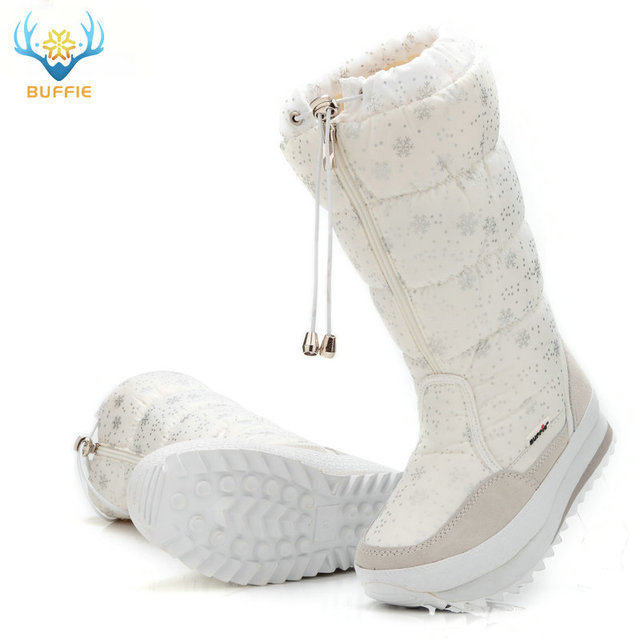 7c31acef895c 2018 Winter boots High Women Snow Boots plush Warm shoes Plus size 35 to big  42 easy wear girl white zip shoes female hot boots - Trendy Shoes Outlet