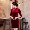 black velvet fifth sleeve modern cheongsam design blue vintage oriental dresses modern chinese cheongsam new autumn