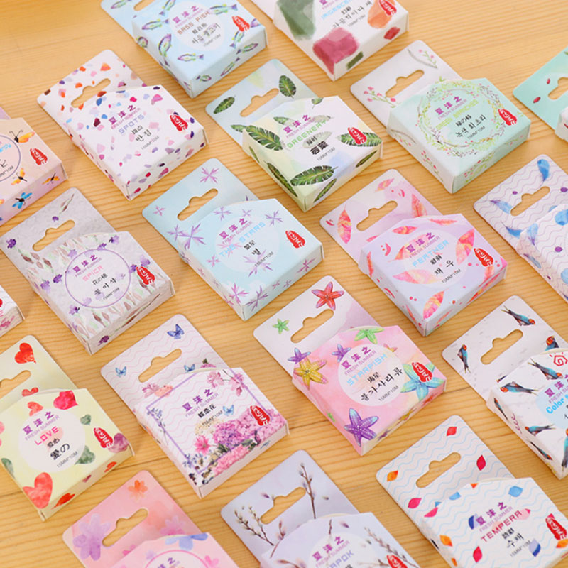 1.5cm X 10 m Watercolor feathers washi tape children diy Diary decoration masking tape kawaii stationery scrapbooking tools 1 x nordic series 1 5cm x 7m kawaii washi tape children diy diary decoration masking tape stationery scrapbooking tool