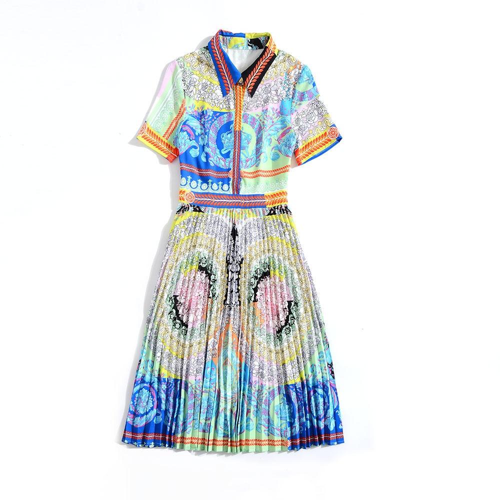 Robe Ligne Chemise Chic Été Manches Fête Fleurs De Vêtement Courtes Imprimer Prairie Bleu Plissée Nouveau Une Femme Printemps 2019 Pour xFBY5wnP
