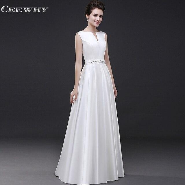 663bd6ee3282d1 CEEWHY V hals Satin Avondjurk Witte Plus Size Formele Partij Prom Dresses  Lange Avondjurken Kralen Abendkleide