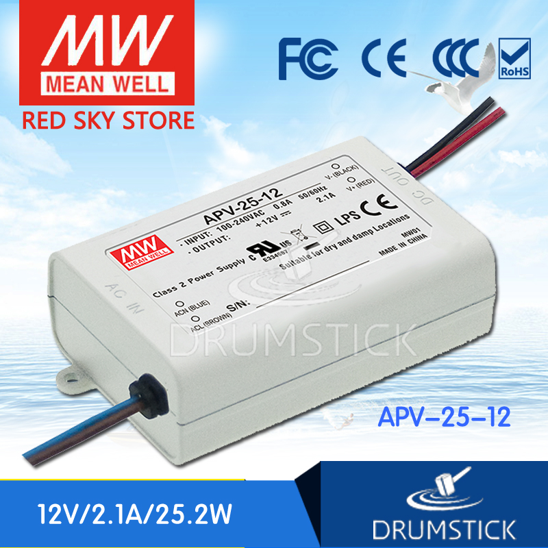 ФОТО Redsky [free-delivery 5Pcs] MEAN WELL original APV-25-12 12V 2.1A meanwell APV-25 25.2W Single Output LED Switching Power Supply