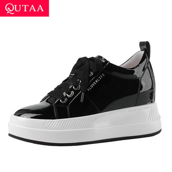 QUTAA 2020 Casual Round Toe Cow Leather Wedge Heel Women Shoes Fashion Platform Lace Up Height Increasing Sneakers Size 34-40
