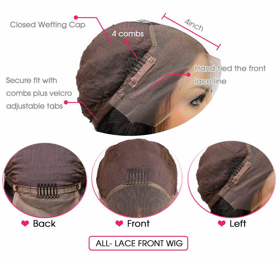 150% Yoğunluk Dantel Ön İnsan Saç Peruk Ile Kadınlar Için Siyah Afro Kinky Kıvırcık Tutkalsız Brezilyalı Remy Saç 13X4 dantel Peruk