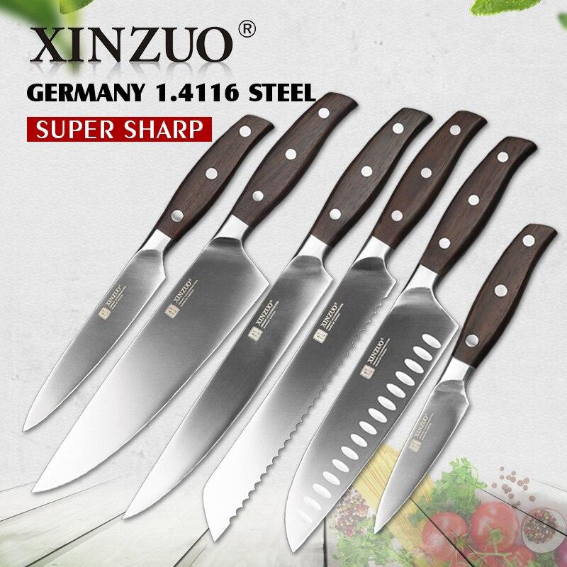 XINZUO Кухонный Инвентарь 6 шт. набор кухонный нож утилита Тесак шеф-повар хлебный нож из высокоуглеродистой Пособия по немецкому языку ножи из...