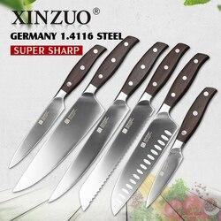 XINZUO أدوات مطبخ 6 قطعة طقم السكاكين المطبخ من فائدة الساطور الشيف سكين تقطيع الخبز عالية الكربون الألمانية المقاوم للصدأ السكاكين مجموعات