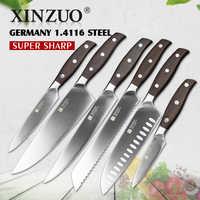 XINZUO Outils De Cuisine 6 pièces Ensemble De Couteau De Cuisine de L'utilité Couperet Chef Couteau À Pain à Haute Teneur en Carbone En Acier Inoxydable Allemand ensembles de Couteaux