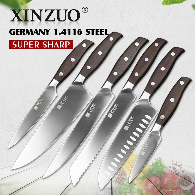 XINZUO herramientas de cocina 6 piezas cuchillo de cocina conjunto de utilidad cuchillo Chef cuchillo de pan con alto contenido de carbono alemán cuchillos de acero inoxidable conjuntos