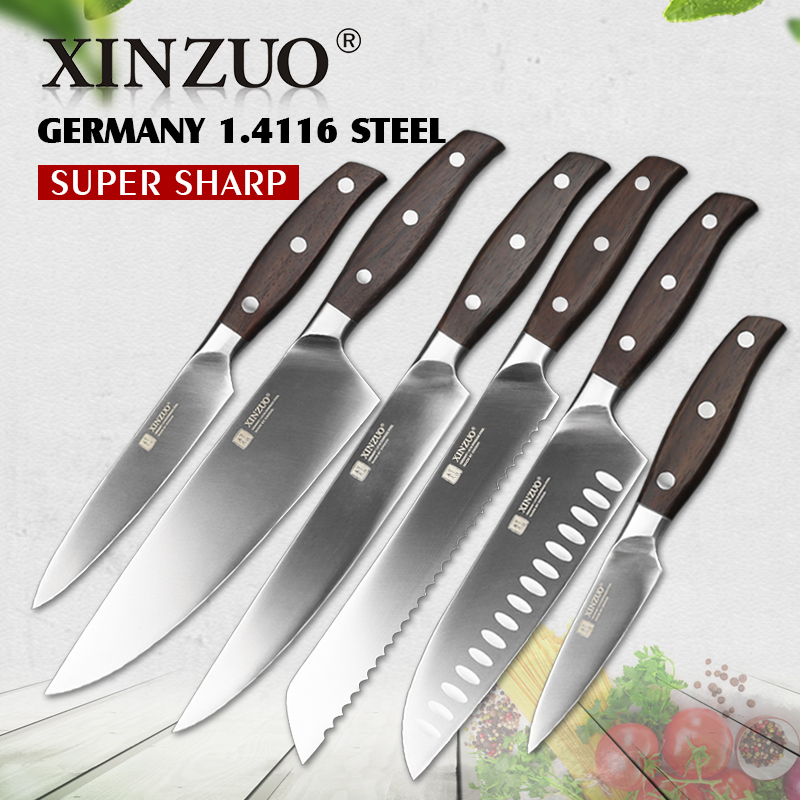 XINZUO kitchen tools 6pcs 3.5+5+7+8+8+8″ inch utility cleaver Chef bread knife stainless steel Kitchen Knife sets free shipping