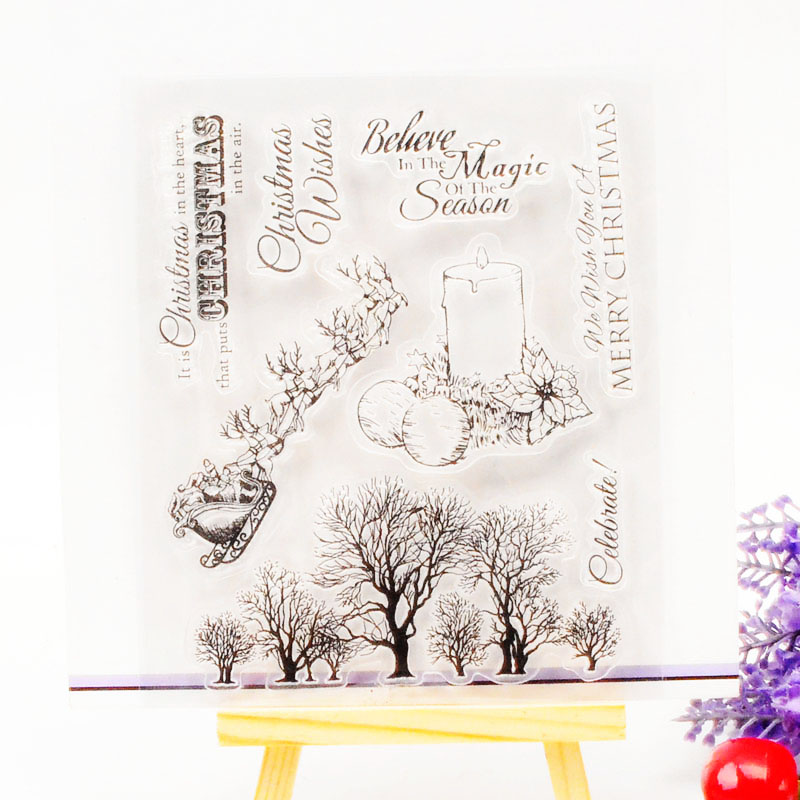 DECORA 1PCS Sleigh Tree Design Silicone Transparent Clear Stamp DIY Scrapbooking Christmas Decoration Supplies цена
