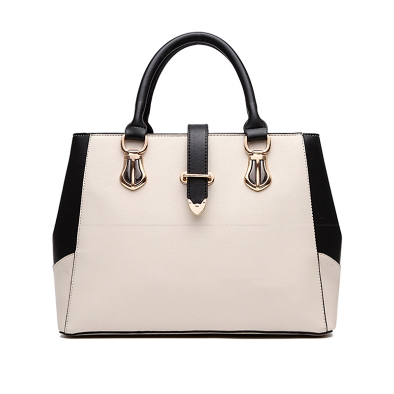 High Quality Leather Women Handbag 2017 Luxury Brand Top Handle Bag Patchwork Fa