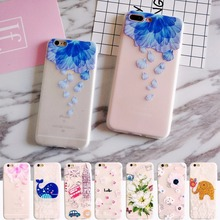 For iphone 6 6s Case Vintage Cute Red Flowers Elegant Woman Case For iphone 6 7 8 X 5 5s se Plus Silicone 3d Girls Case Cover