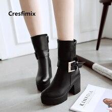 f5f12bb0e Mulheres moda confortáveis vinho tinto pu botas de couro botas de salto alto  senhora casual rua