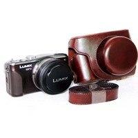 カメラビデオバッグpuレザーケース用panasonic lumix dmc gf3 gf5 gf6 14ミリメートル短い焦点レンズ付きストラップカメラアクセサリ