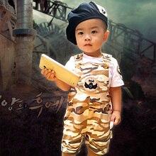 2016 летний ребенок нагрудник брюки набор мужской моды с коротким рукавом цельный набор младенческая С Коротким рукавом брюки + шляпы 3 шт.
