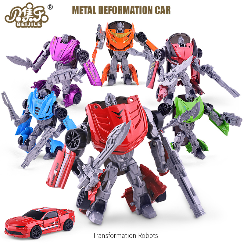 BEIJILE Action Figures Toys Metal Deformation Car Robots Alloy Model Car Styling Transformation toy DieCast Car Gift of children 48pcs lot action figures toy stikeez sucker kids silicon toys minifigures capsule children gift