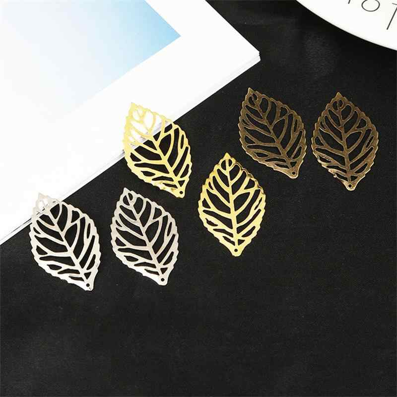 30pcs/bag Iron Leaves Connectors Metal Crafts Charms DIY Necklace Leaf Charms For Jewelry Findings Making DIY Accessories